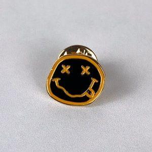 Nirvana Smiley Black Enamel Pin/ Brooch